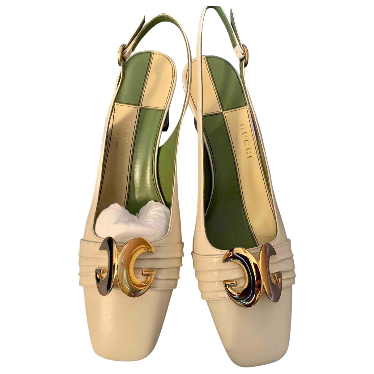 Gucci N White Leather Heels for Women 39 IT