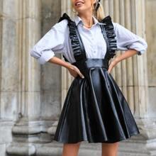 PU Leder Kleid mit Rueschen und Riemen
