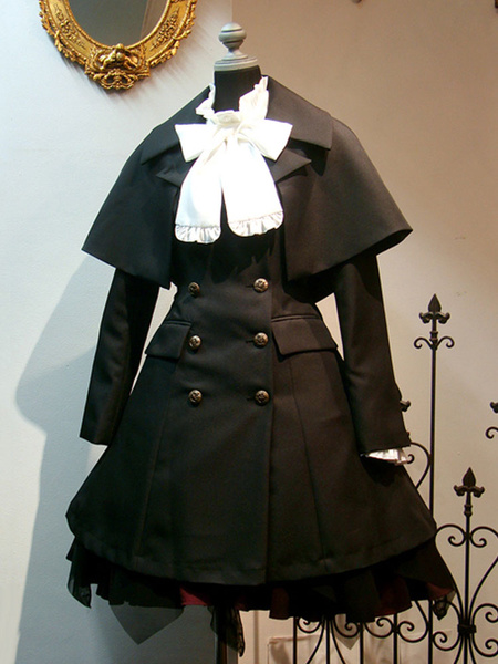 Milanoo Gothic Lolita Coats Black Grommets Cotton Blend Fall Lolita Outwears