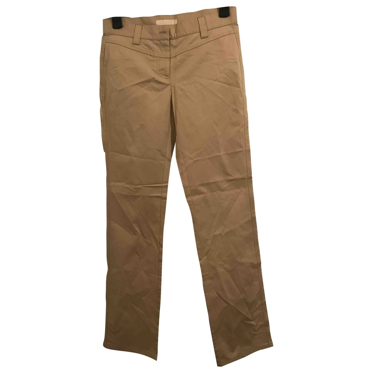 Valentino Garavani \N Beige Cotton Trousers for Women 8 US