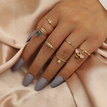 6pcs Faux Pearl Decor Ring