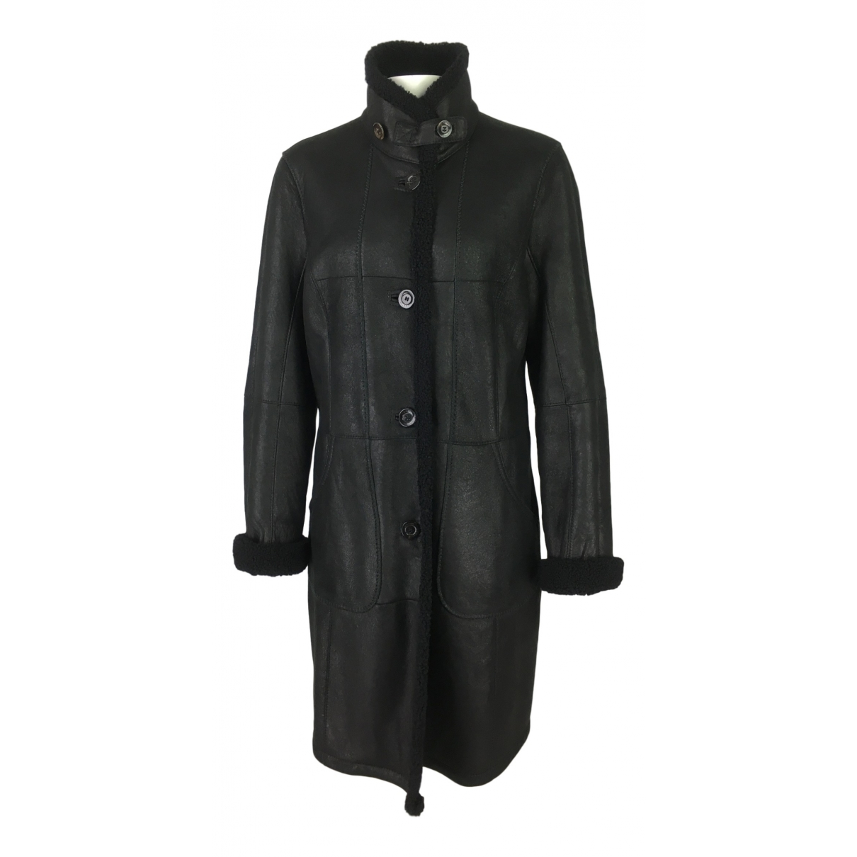 - Manteau   pour femme en agneau de mongolie - noir