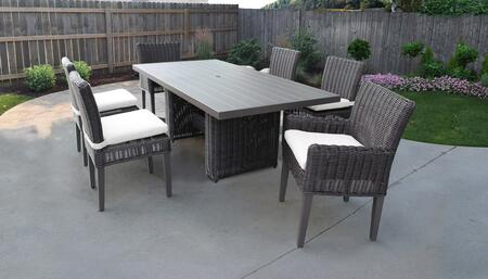 Venice Collection VENICE-DTREC-KIT-4ADC2DCC-WHITE Patio Dining Set With 1 Table  4 Side Chairs  2 Arm Chairs - Wheat and Sail White