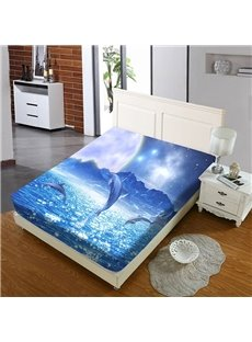 Dolphins Jumping Out of The Blue Sea Reactive Printing 1-Piece Polyester Bed Cover / Mattress Cover