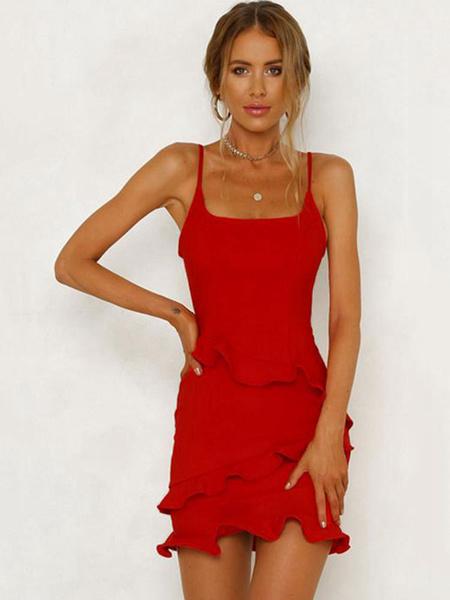 Milanoo Sexy Bodycon Dress Straps Ruffles Shaping Mini Dress