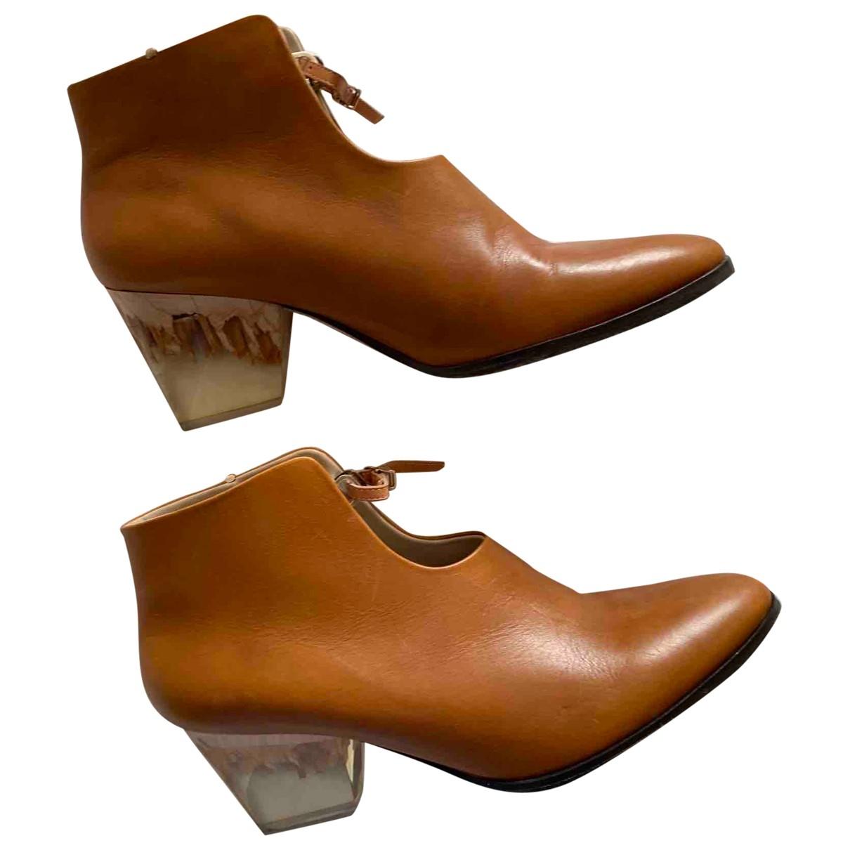Zoe Lee - Boots   pour femme en cuir - marron