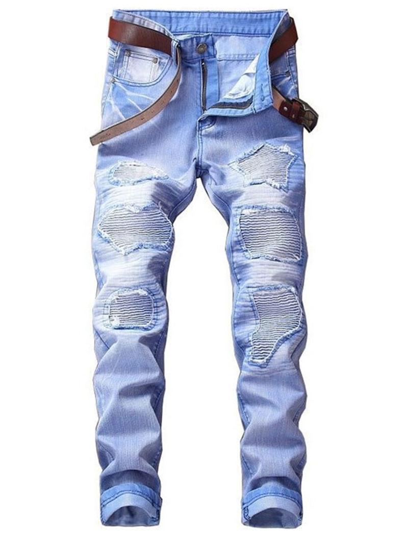 Ericdress Hole Plain Straight Zipper European Jeans