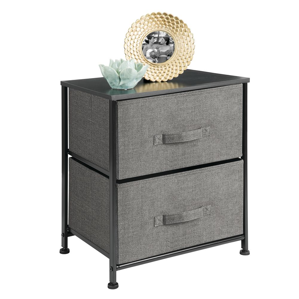 mDesign 2 Drawer Side Table Storage Unit with Fabric Drawers in Charcoal, 11.75