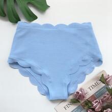 Bikini Hoschen mit Bogenkante und hoher Taille