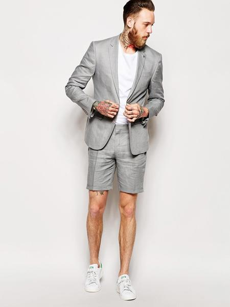 Men's Linen Fabric summer business suits with shorts pants set Grey