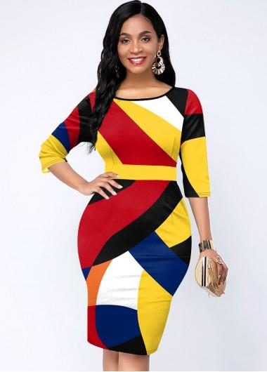 Cocktail Party Dress Round Neck Three Quarter Sleeve Geometric Print Dress - M