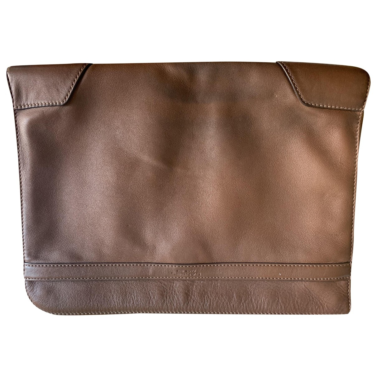 Lancel \N Brown Leather Small bag, wallet & cases for Men \N