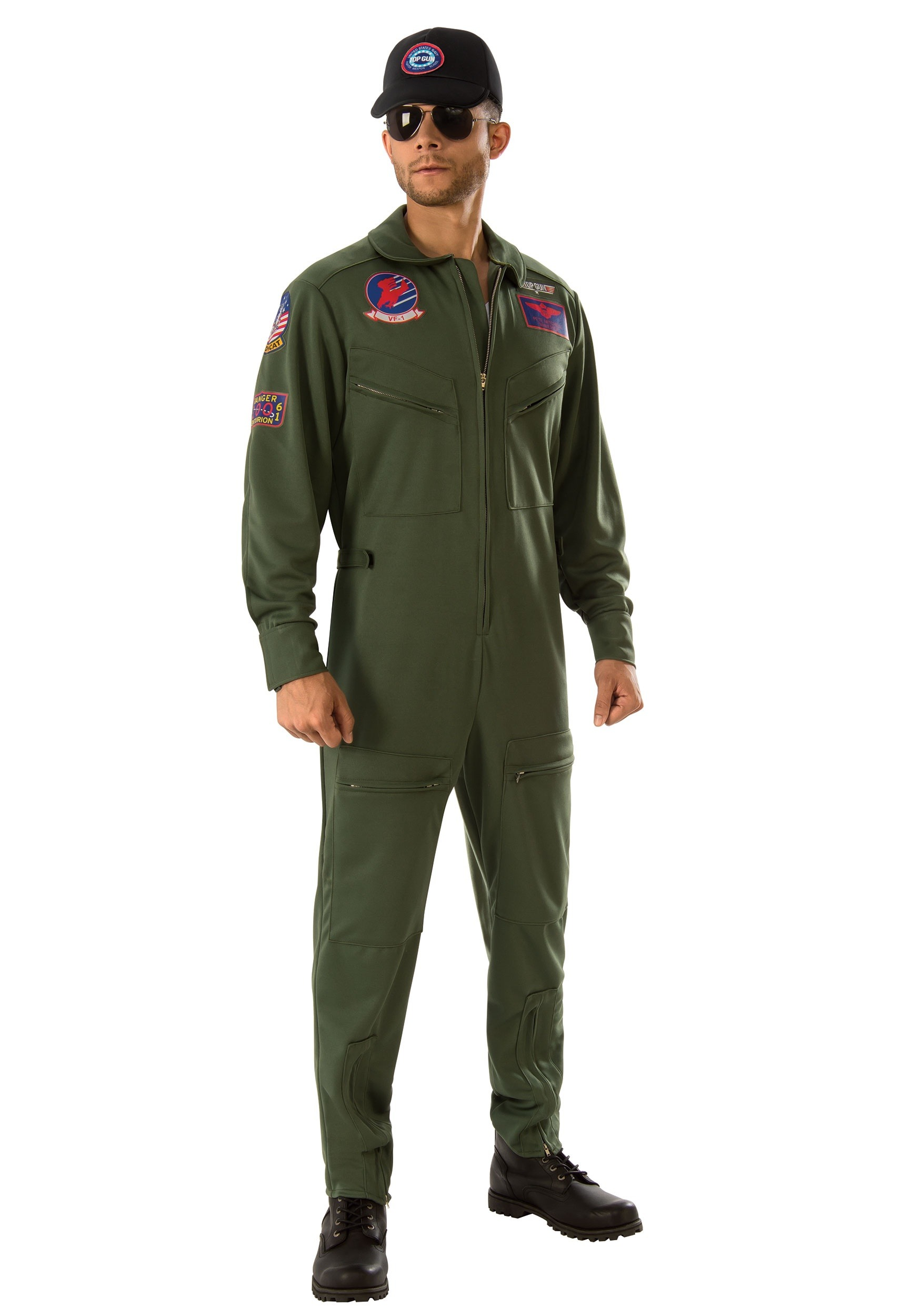 Top Gun Men's Jumpsuit Costume | Fighter Pilot Costume