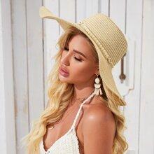 Sombrero de paja con diseño de concha con perla artificial