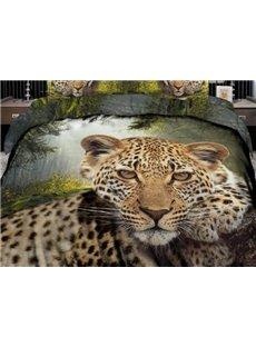 3D Leopard Printed Cotton 4-Piece Bedding Sets/Duvet Covers