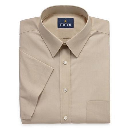 Stafford Mens Short Sleeve Travel Easy-Care Broadcloth Stretch Dress Shirt, 17.5 , Brown