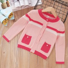 Toddler Girls Striped Pattern Scallop Trim Button Front Cardigan