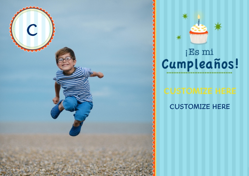 Kids Birthday Party Invites 5x7 Cards, Premium Cardstock 120lb with Scalloped Corners, Card & Stationery -Es mi Cumpleanos