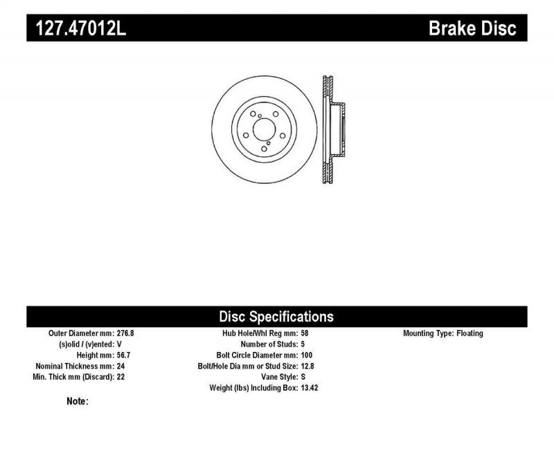 StopTech 127.47012L Sport Drilled/Slotted Brake Rotor; Front Left Front Left