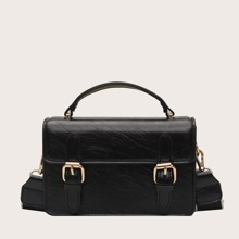 Double Buckle Decor Satchel Bag