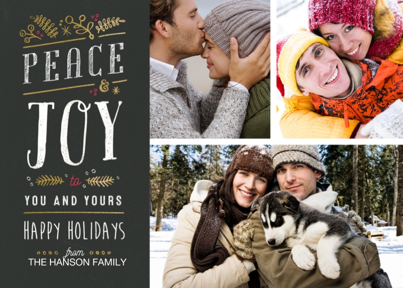 Holiday Photo Cards 5x7 Cards, Premium Cardstock 120lb with Elegant Corners, Card & Stationery -Peace & Joy Gold Foliage
