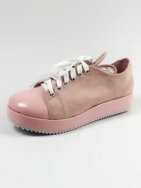 Milanoo Sweet Lolita Shoes Square Toe Platform Lace Up PU Pink Lolita Shoes