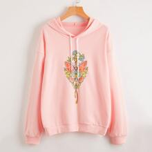 Floral And Butterfly Print Hooded Sweatshirt
