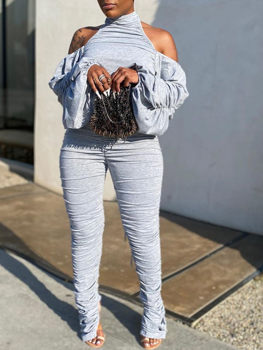 LW lovely Trendy Hollow-out Fold Design Grey Plus Size Two-piece Pants Set