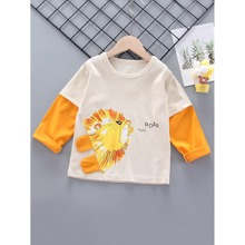 Toddler Boys Cartoon Lion & Letter Graphic Tee