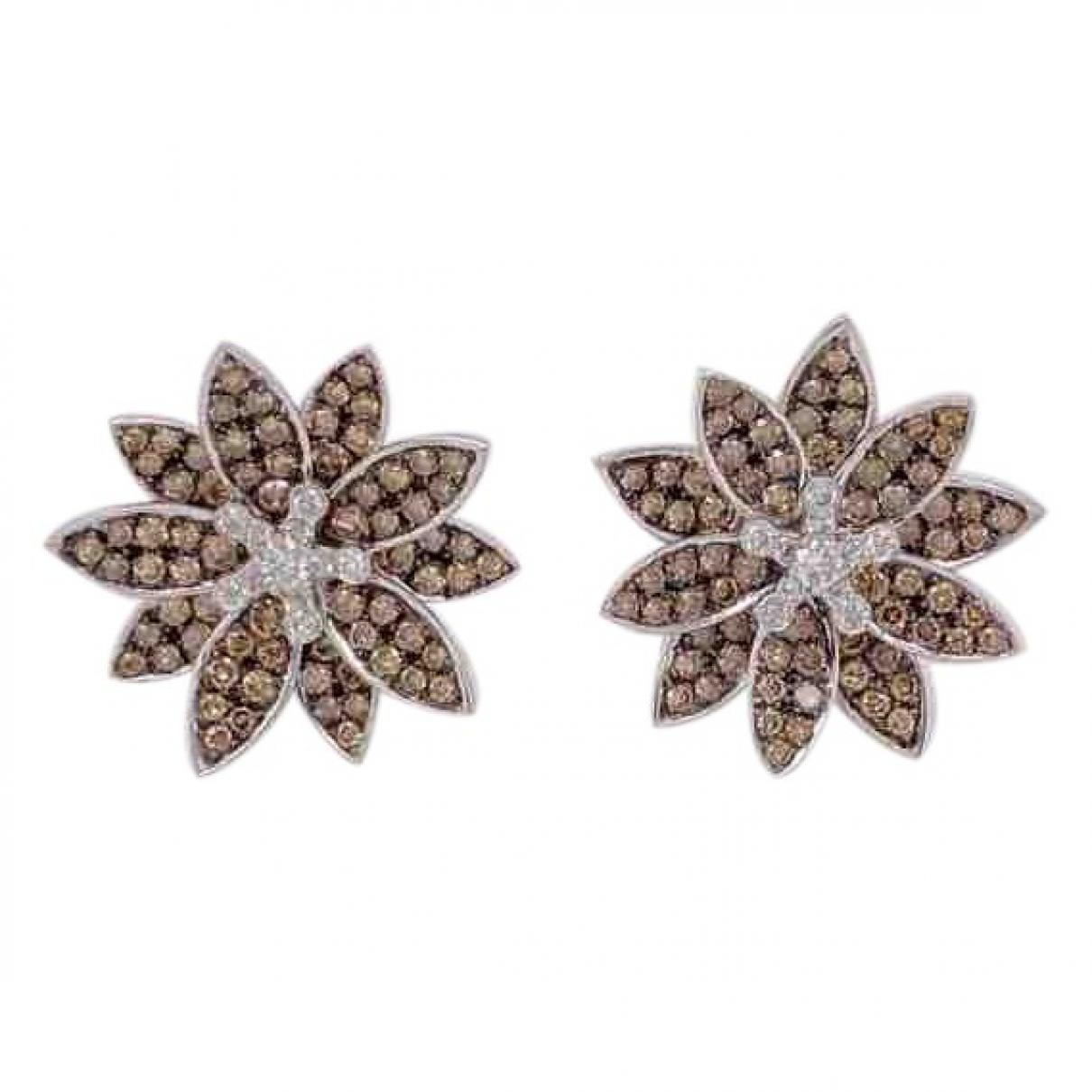 - Boucles doreilles Motifs Floraux pour femme en or blanc - marron