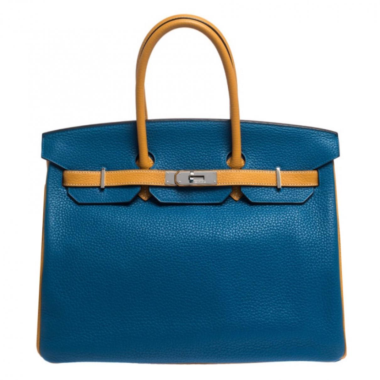 Hermes - Sac a main   pour femme en cuir - bleu