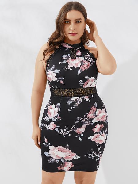 YOINS Plus Size Lace Floral Print Halter Sleeveless Dress