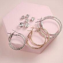 6pairs Rhinestone Decor Earrings