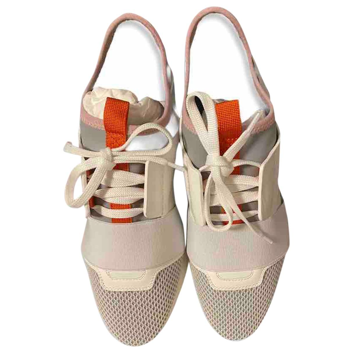 Balenciaga - Baskets Race pour femme en cuir - blanc