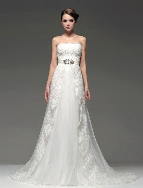 Milanoo Elegant Ivory Beading Strapless A-line Bridal Wedding Dress
