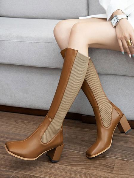 Milanoo Knee-High Boots Cowhide Black Square Toe Chunky Heel Cowhide Women\'s Knee Boots
