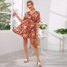 Maternity Tie Waist Flutter Sleeve Floral Print Dress