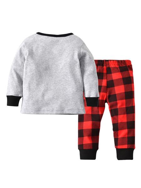 Milanoo Baby Christmas Pajamas Outfit Plaid Printed Kids Top And Pants Set Halloween