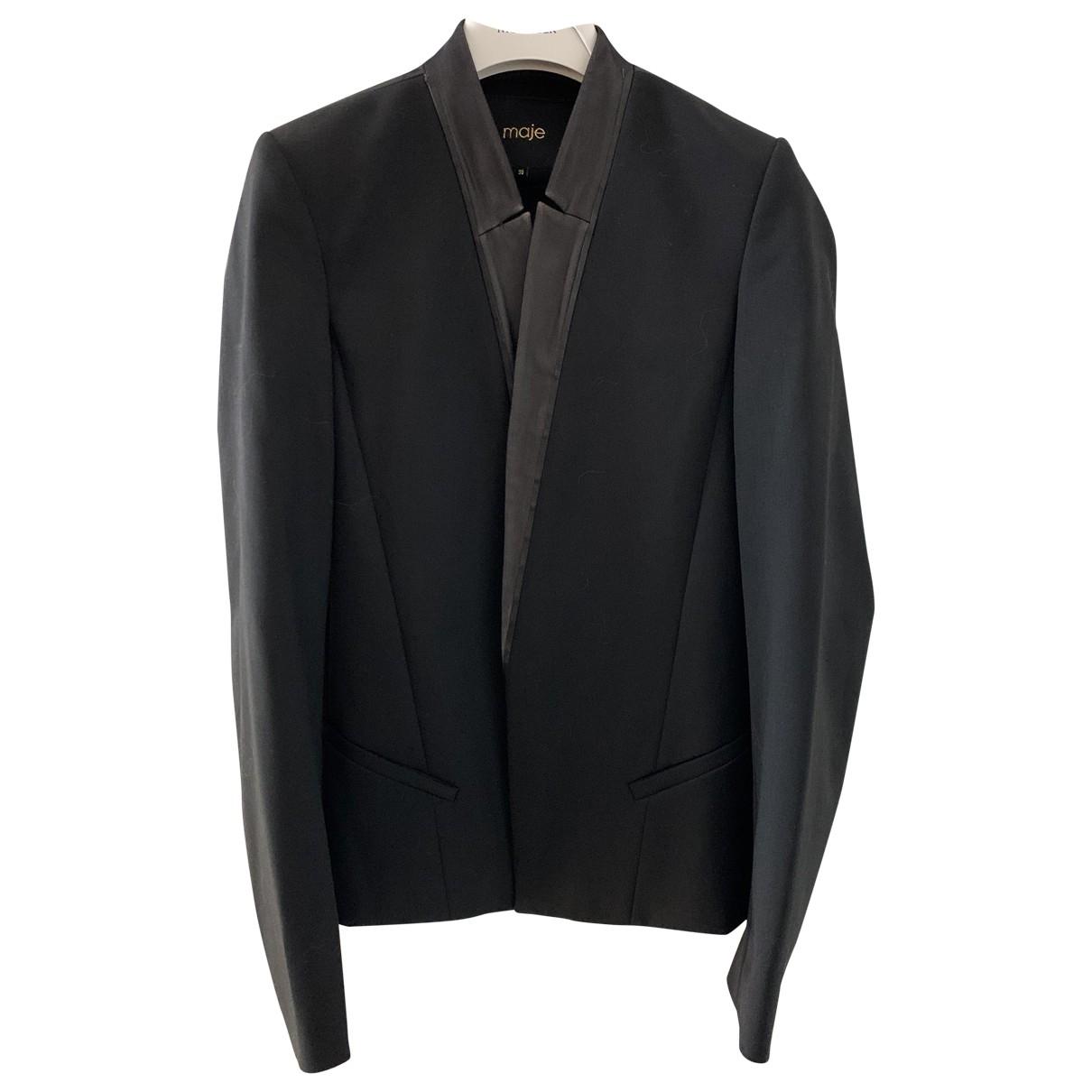 Maje Fall Winter 2019 Black Wool jacket for Women 36 FR