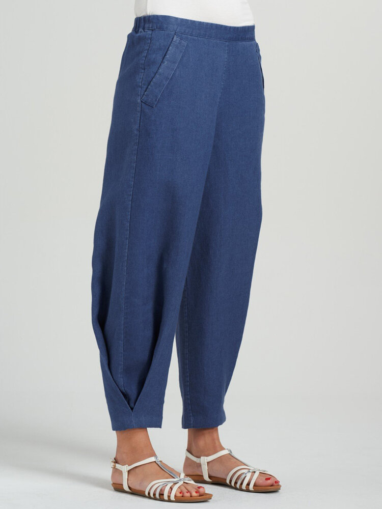 Casual Solid Color Wide-Legged Elastic Waist Pleated Pants