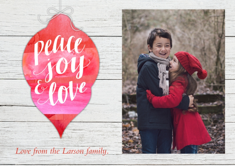 Holiday Photo Cards 5x7 Cards, Premium Cardstock 120lb with Elegant Corners, Card & Stationery -Peace Joy Love Ornament
