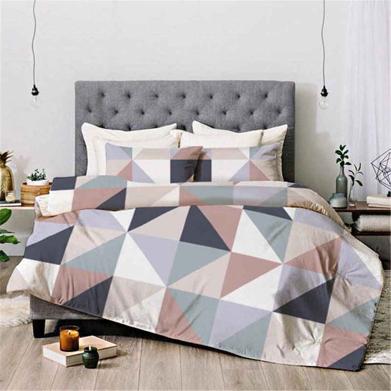 Geometric Color Reactive Printing Four-Piece Set Duvet Cover Set Hand Wash Polyester Bedding Sets