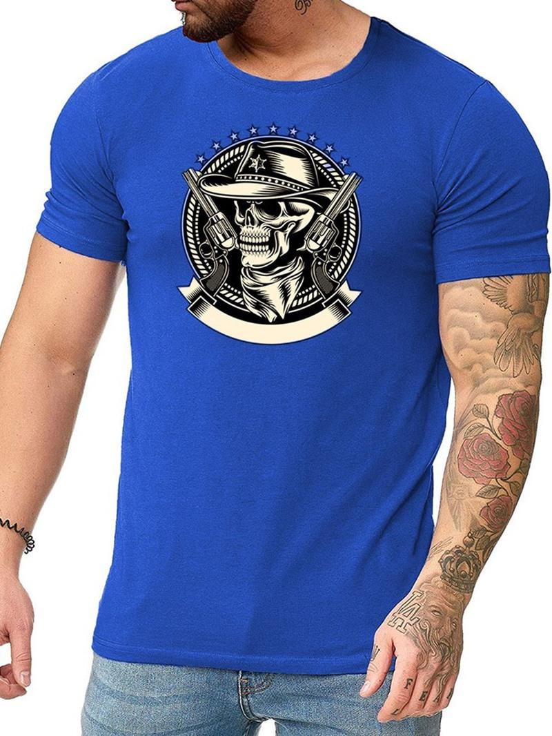 Ericdress Print Skull Round Neck Short Sleeve Pullover T-shirt