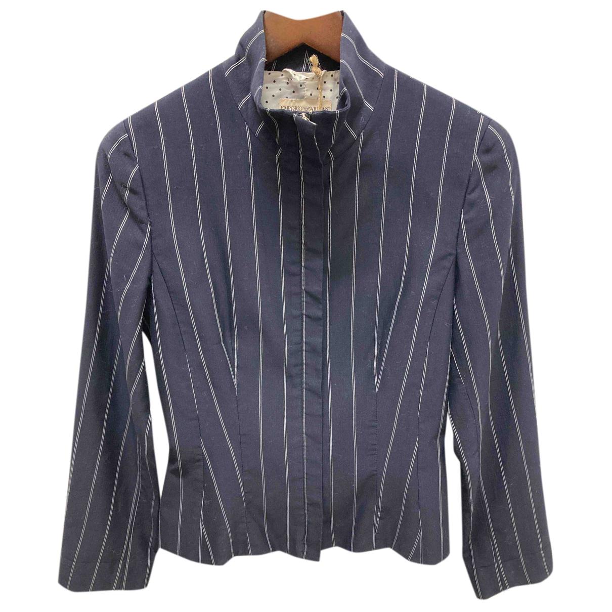 Emporio Armani - Veste   pour femme en coton - bleu