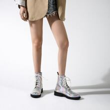Holographic Lace-up Front Combat Boots