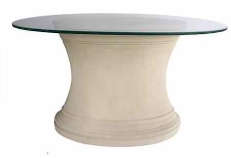 Fairbank TB-V3617-47 47 Oval Hallway Table with a Modern Limestone Base and Glass Top in Natural Beige