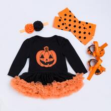 Baby Girl 4 Pack Halloween Layered Mesh Panel Bodysuit