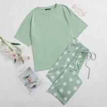 Drop Shoulder Tee and Floral Print Pants PJ Set