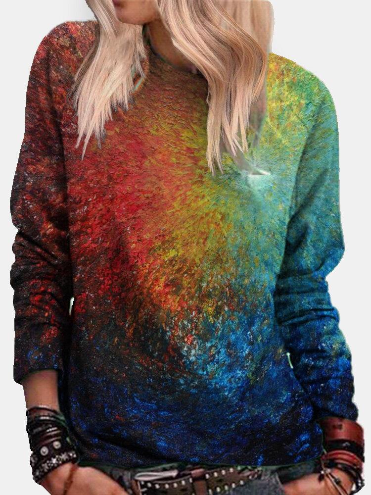 Tie-dye Long Sleeve O-neck Casual Sweatshirt For Women