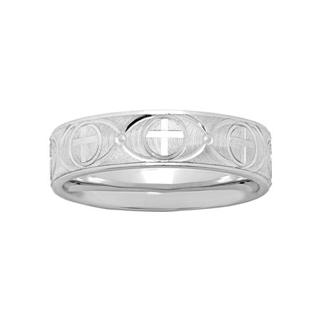 Mens Sterling Silver Ridged Cross Band, 12 1/2 , No Color Family